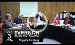 Vernon Selectboard Mtg 10/3/16