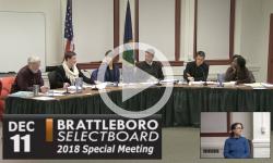 Brattleboro Selectboard Special Mtg 12/11/18