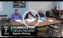 Dummerston Selectboard Mtg 12/7/16