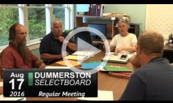 Dummerston Selectboard Mtg 8/17/16