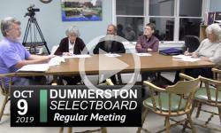 Dummerston Selectboard Mtg 10/9/19