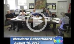 Newfane Selectboard Mtg. 8/16/12