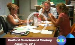 Guilford Selectboard Mtg. 8/13/12