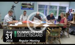 Dummerston Selectboard Mtg 8/31/16