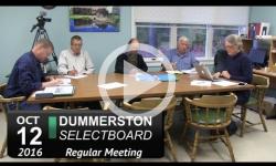 Dummerston Selectboard Mtg 10/12/16