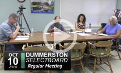 Dummerston Selectboard Mtg 10/1/18