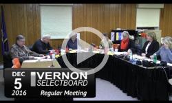 Vernon Selectboard Mtg 12/5/16