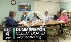 Dummerston Selectoboard Mtg 12/4/19