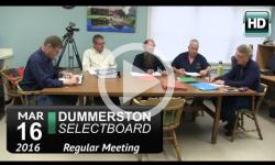 Dummerston Selectboard Mtg 3/16/16