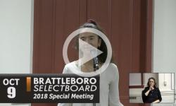 Brattleboro Selectboard Special Mtg 10/9/18