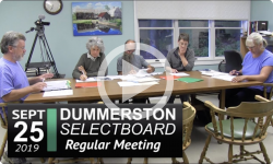 Dummerston Selectboard Mtg 9/25/19