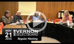 Vernon Selectboard Mtg 11/21/16