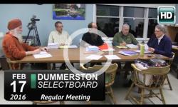Dummerston Selectboard Mtg 2/17/16