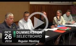 Dummerston Selectboard Mtg 10/26/16