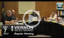 Vernon Selectboard Mtg 12/7/15