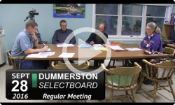Dummerston Selectboard Mtg 9/28/16