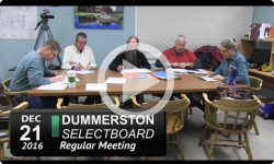 Dummerston Selectboard Mtg 12/21/16